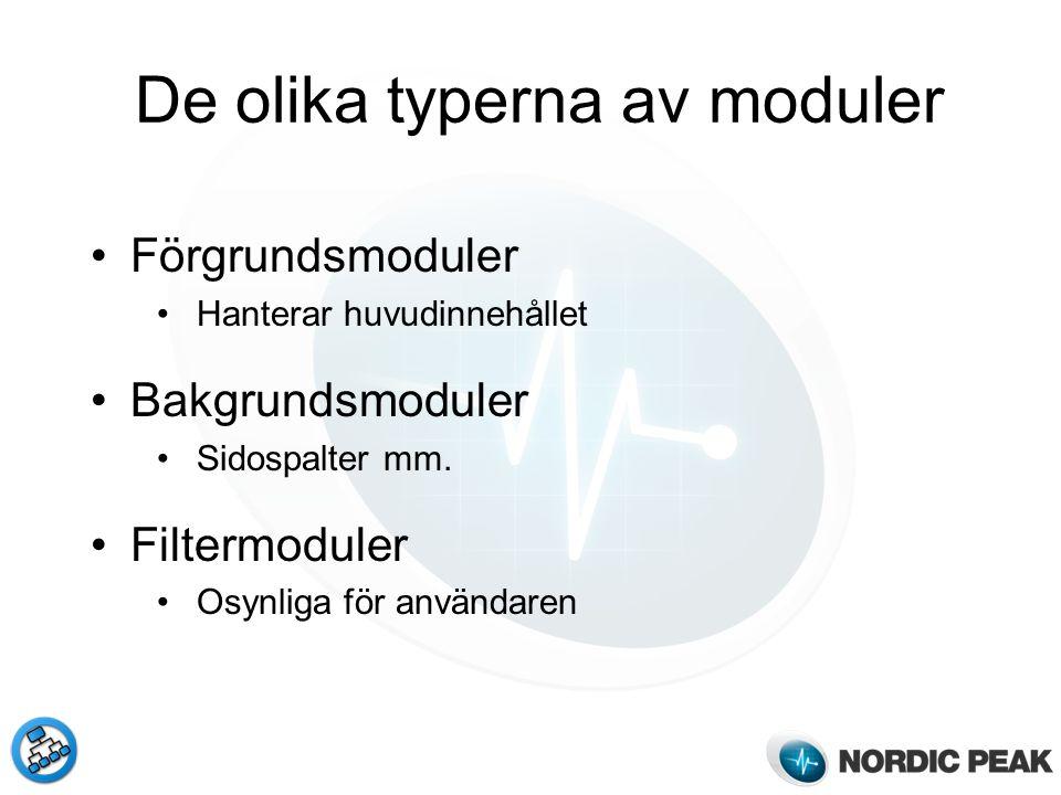 Förgrundsmoduler Hanterar huvudinnehållet Bakgrundsmoduler Sidospalter mm. Filtermoduler Osynliga för användaren De olika typerna av moduler