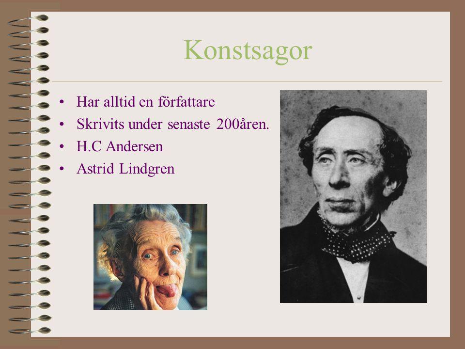 Konstsagor Har alltid en författare Skrivits under senaste 200åren. H.C Andersen Astrid Lindgren