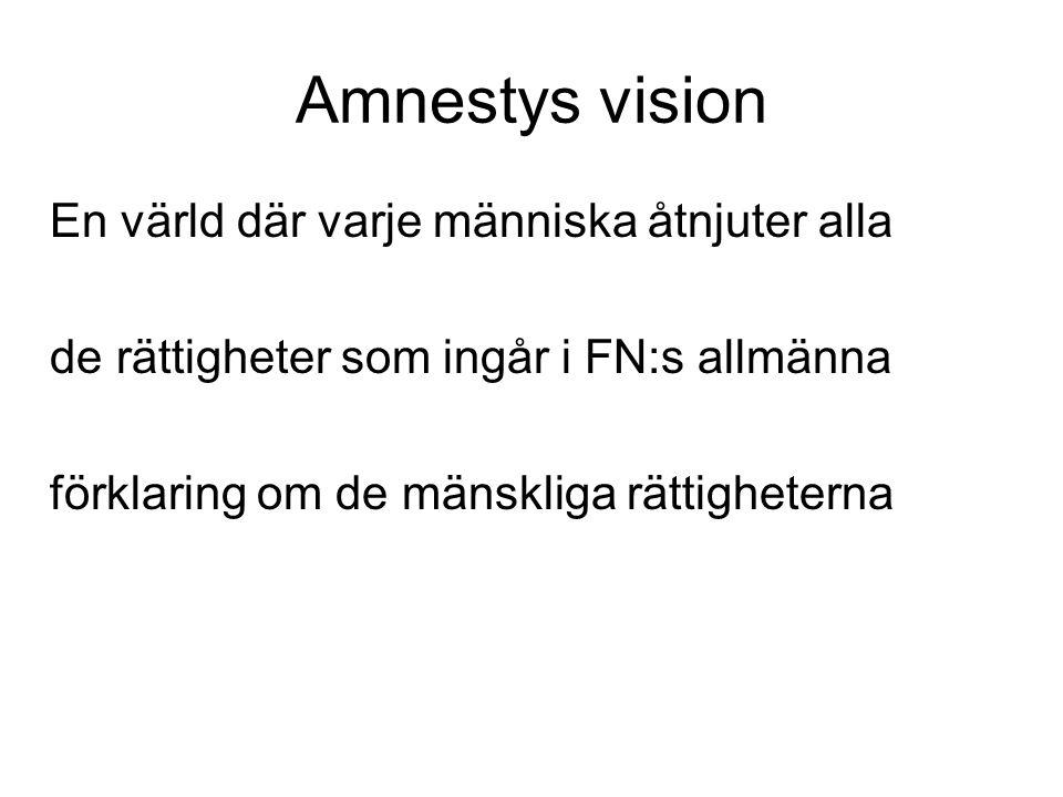 Amnestys vision En värld där varje människa åtnjuter alla de rättigheter som ingår i FN:s allmänna förklaring om de mänskliga rättigheterna