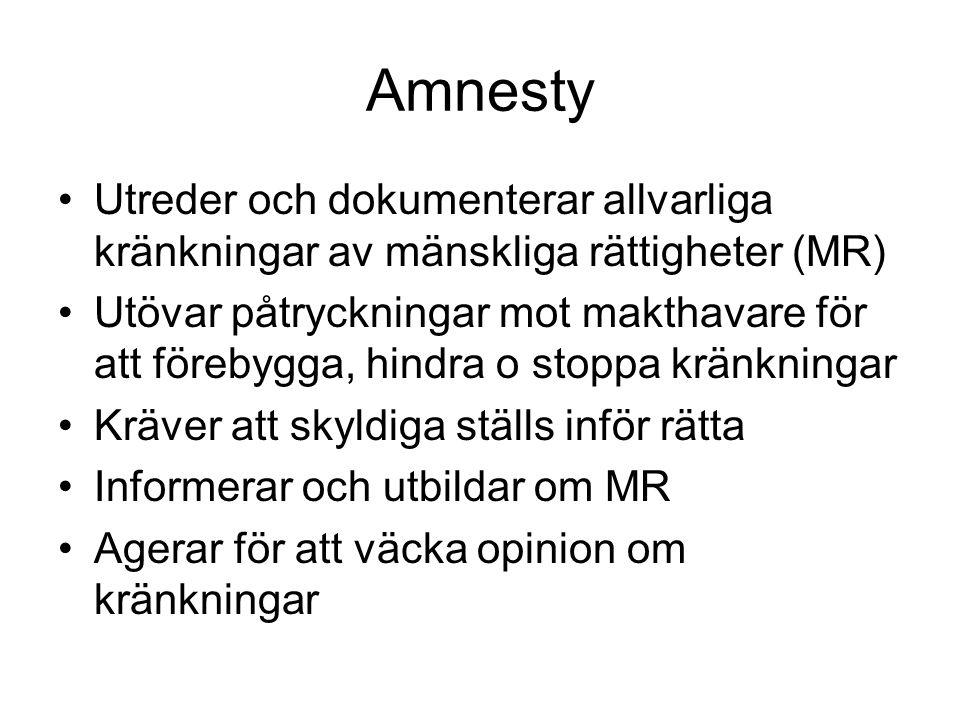 Amnesty Utreder och dokumenterar allvarliga kränkningar av mänskliga rättigheter (MR) Utövar påtryckningar mot makthavare för att förebygga, hindra o stoppa kränkningar Kräver att skyldiga ställs inför rätta Informerar och utbildar om MR Agerar för att väcka opinion om kränkningar