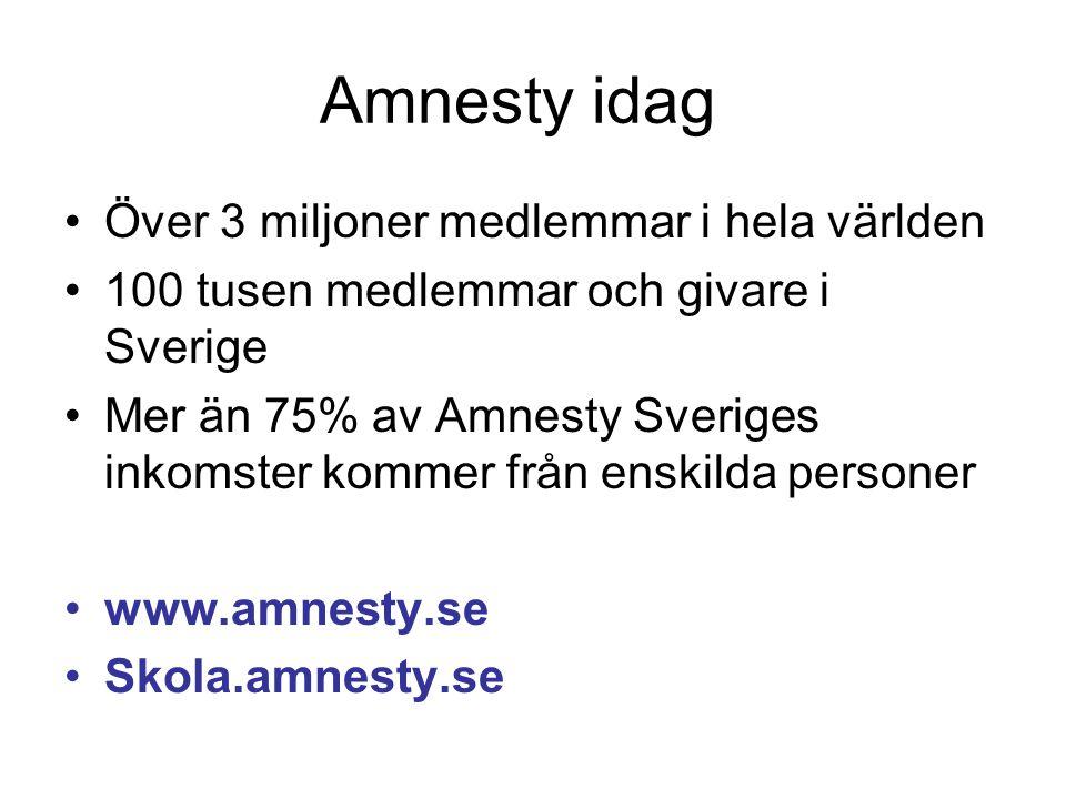 Amnesty idag Över 3 miljoner medlemmar i hela världen 100 tusen medlemmar och givare i Sverige Mer än 75% av Amnesty Sveriges inkomster kommer från enskilda personer www.amnesty.se Skola.amnesty.se