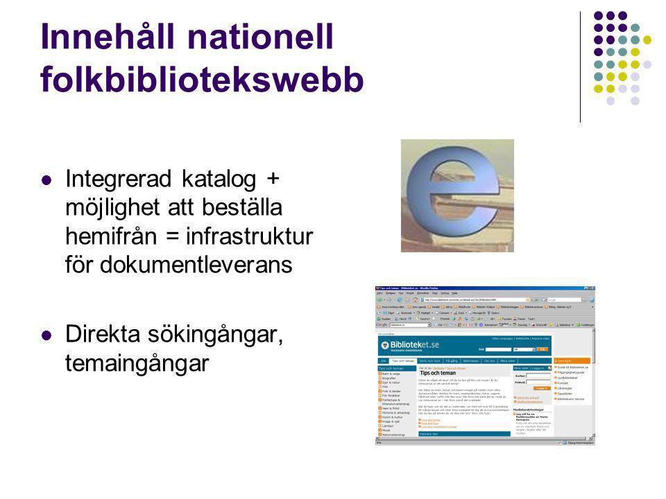 Innehåll nationell folkbibliotekswebb Integrerad katalog + möjlighet att beställa hemifrån = infrastruktur för dokumentleverans Direkta sökingångar, temaingångar
