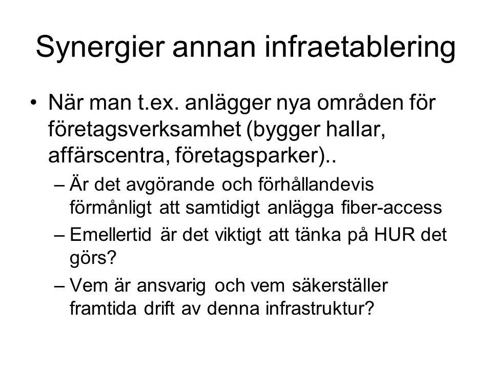 Synergier annan infraetablering När man t.ex.