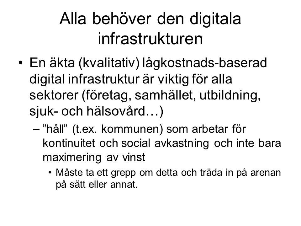 Alla behöver den digitala infrastrukturen En äkta (kvalitativ) lågkostnads-baserad digital infrastruktur är viktig för alla sektorer (företag, samhället, utbildning, sjuk- och hälsovård…) – håll (t.ex.