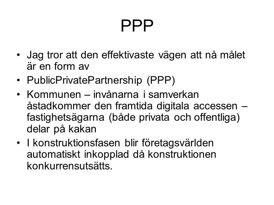 PPP Jag tror att den effektivaste vägen att nå målet är en form av PublicPrivatePartnership (PPP) Kommunen – invånarna i samverkan åstadkommer den fra