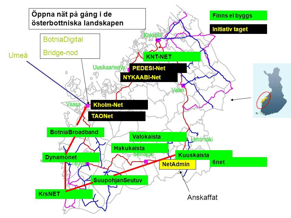 Umeå BotniaDigital Bridge-nod NetAdmin KRISTINESTAD NÄRPES MALAX SUUPOHJA KUUSKAISTA KRONOBY PEDESI-Net Kholm-Net BotniaBroadband Dynamonet KrsNET Suu