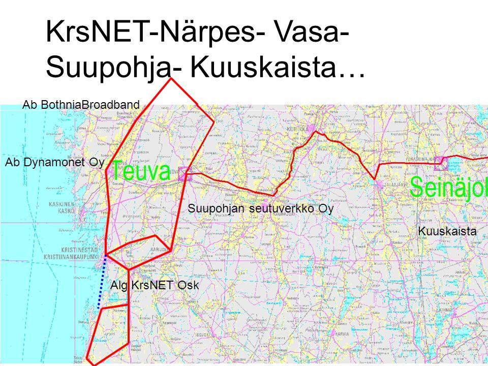 Suupohjan seutuverkko Oy Alg KrsNET Osk Ab Dynamonet Oy KrsNET-Närpes- Vasa- Suupohja- Kuuskaista… Kuuskaista Ab BothniaBroadband