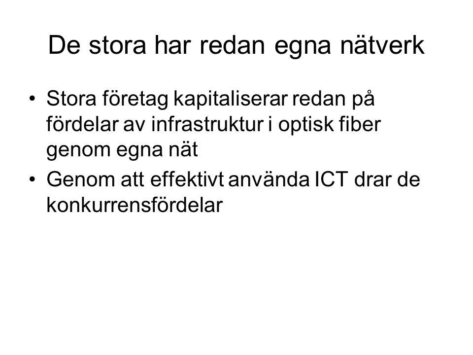 De stora har redan egna nätverk Stora företag kapitaliserar redan på fördelar av infrastruktur i optisk fiber genom egna nät Genom att effektivt använda ICT drar de konkurrensfördelar