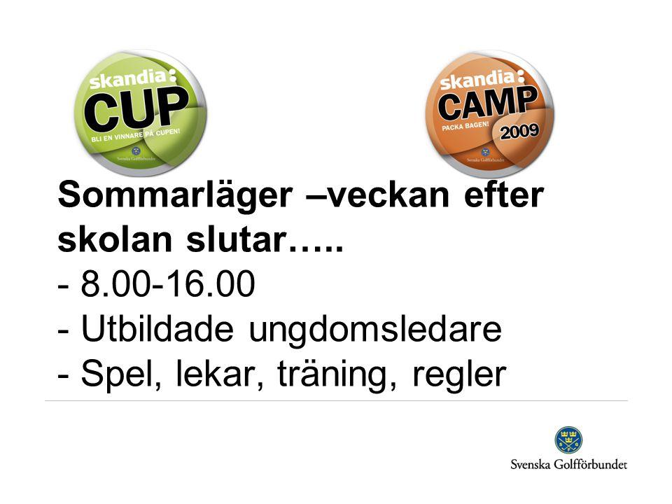 Sommarläger –veckan efter skolan slutar….. - 8.00-16.00 - Utbildade ungdomsledare - Spel, lekar, träning, regler