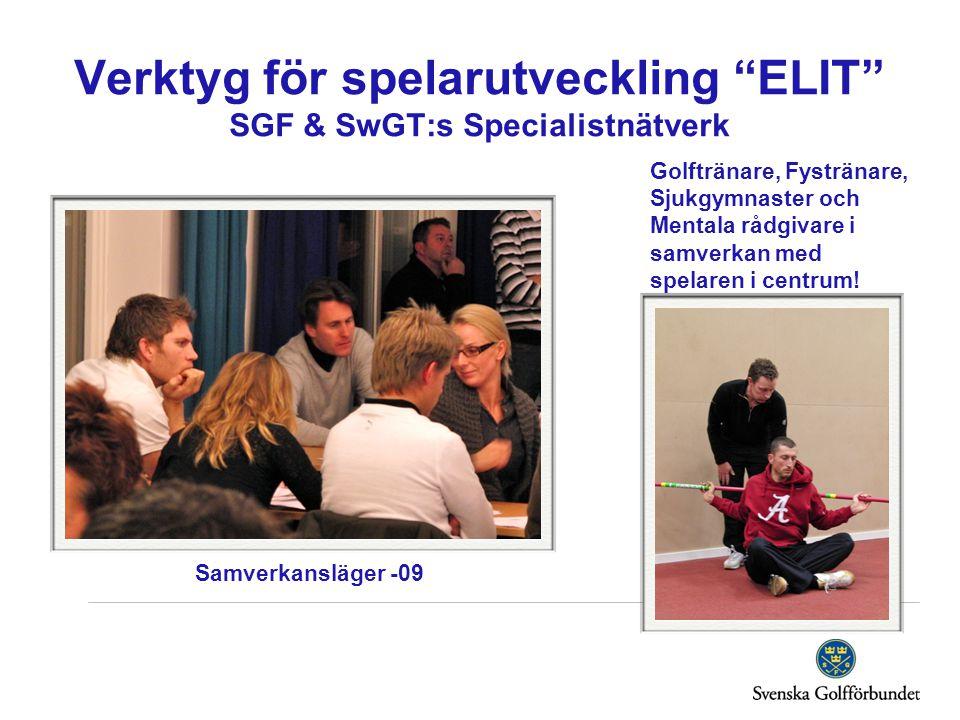"""Verktyg för spelarutveckling """"ELIT"""" SGF & SwGT:s Specialistnätverk Golftränare, Fystränare, Sjukgymnaster och Mentala rådgivare i samverkan med spelar"""
