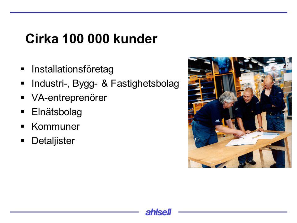 Cirka 100 000 kunder  Installationsföretag  Industri-, Bygg- & Fastighetsbolag  VA-entreprenörer  Elnätsbolag  Kommuner  Detaljister