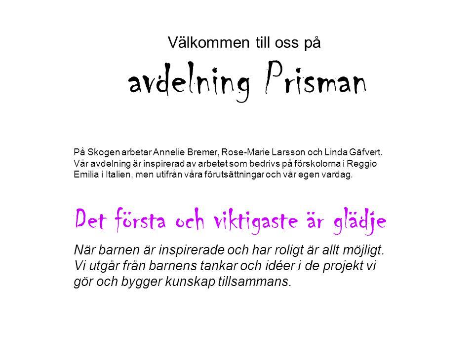 Välkommen till oss på avdelning Prisman På Skogen arbetar Annelie Bremer, Rose-Marie Larsson och Linda Gäfvert. Vår avdelning är inspirerad av arbetet