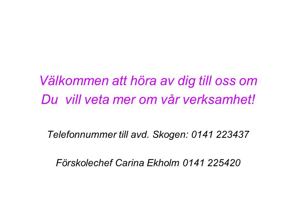 Välkommen att höra av dig till oss om Du vill veta mer om vår verksamhet! Telefonnummer till avd. Skogen: 0141 223437 Förskolechef Carina Ekholm 0141