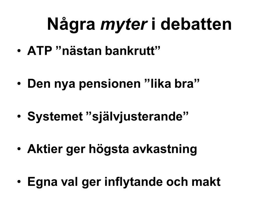 Några myter i debatten ATP nästan bankrutt Den nya pensionen lika bra Systemet självjusterande Aktier ger högsta avkastning Egna val ger inflytande och makt