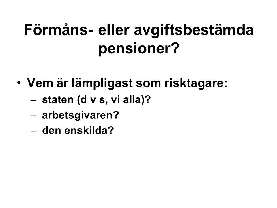 Förmåns- eller avgiftsbestämda pensioner.