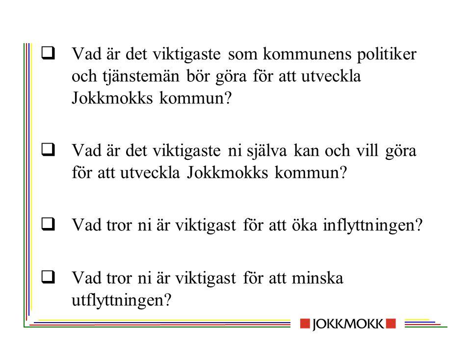  Vad är det viktigaste som kommunens politiker och tjänstemän bör göra för att utveckla Jokkmokks kommun?  Vad är det viktigaste ni själva kan och v