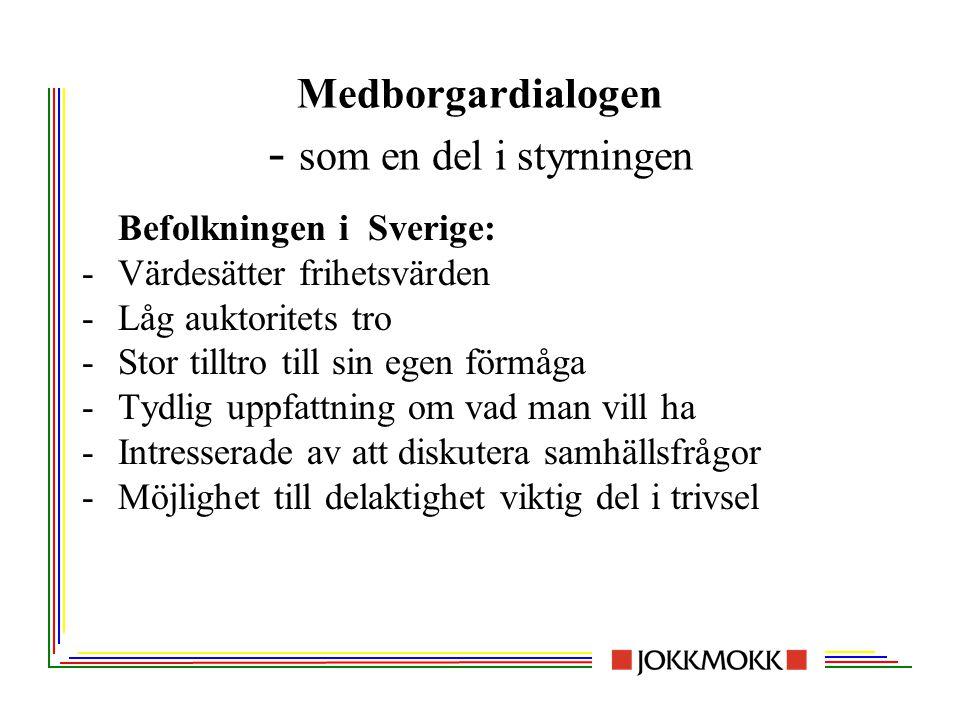 Medborgardialogen - som en del i styrningen Befolkningen i Sverige: -Värdesätter frihetsvärden -Låg auktoritets tro -Stor tilltro till sin egen förmåg