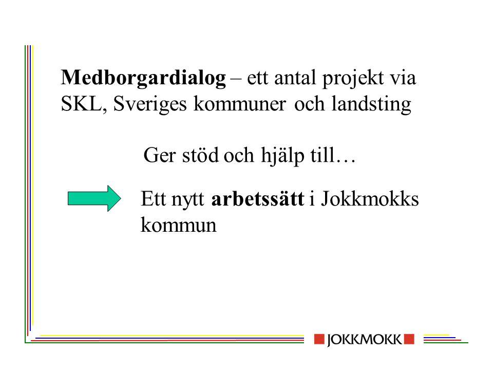 Medborgardialog – ett antal projekt via SKL, Sveriges kommuner och landsting Ett nytt arbetssätt i Jokkmokks kommun Ger stöd och hjälp till…