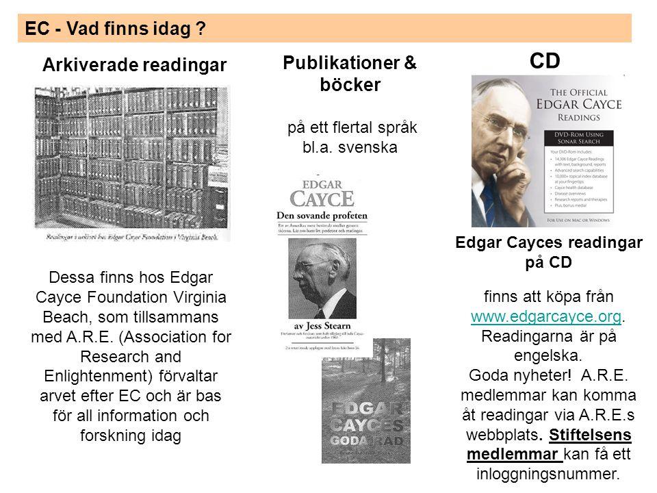 EC - Vad finns idag .Edgar Cayces readingar på CD finns att köpa från www.edgarcayce.org.