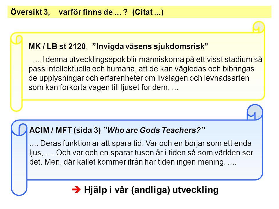 Översikt 3, varför finns de...(Citat...)  Hjälp i vår (andliga) utveckling MK / LB st 2120.