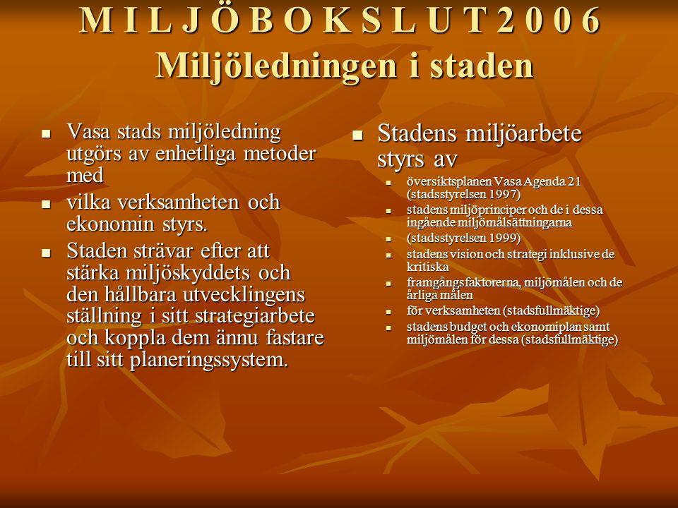 M I L J Ö B O K S L U T 2 0 0 6 Miljöledningen i staden Vasa stads miljöledning utgörs av enhetliga metoder med Vasa stads miljöledning utgörs av enhetliga metoder med vilka verksamheten och ekonomin styrs.