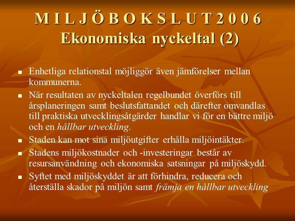 M I L J Ö B O K S L U T 2 0 0 6 Ekonomiska nyckeltal (2) Enhetliga relationstal möjliggör även jämförelser mellan kommunerna.