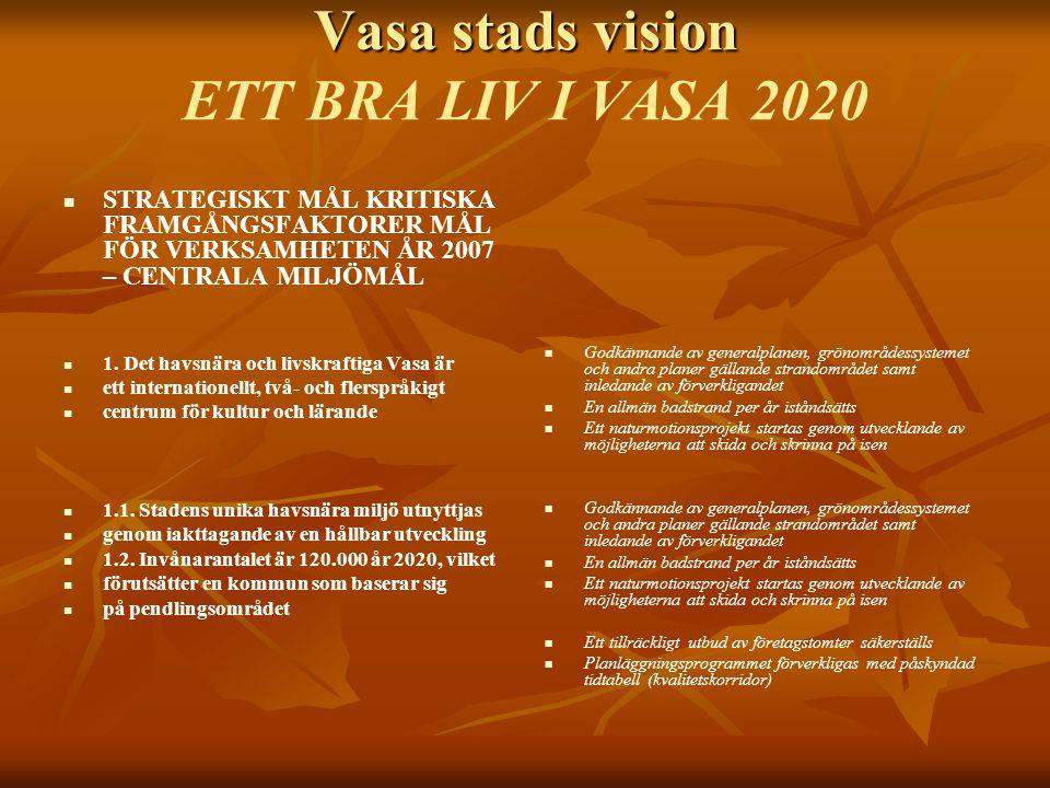 Vasa stads vision Vasa stads vision ETT BRA LIV I VASA 2020 STRATEGISKT MÅL KRITISKA FRAMGÅNGSFAKTORER MÅL FÖR VERKSAMHETEN ÅR 2007 – CENTRALA MILJÖMÅL 1.
