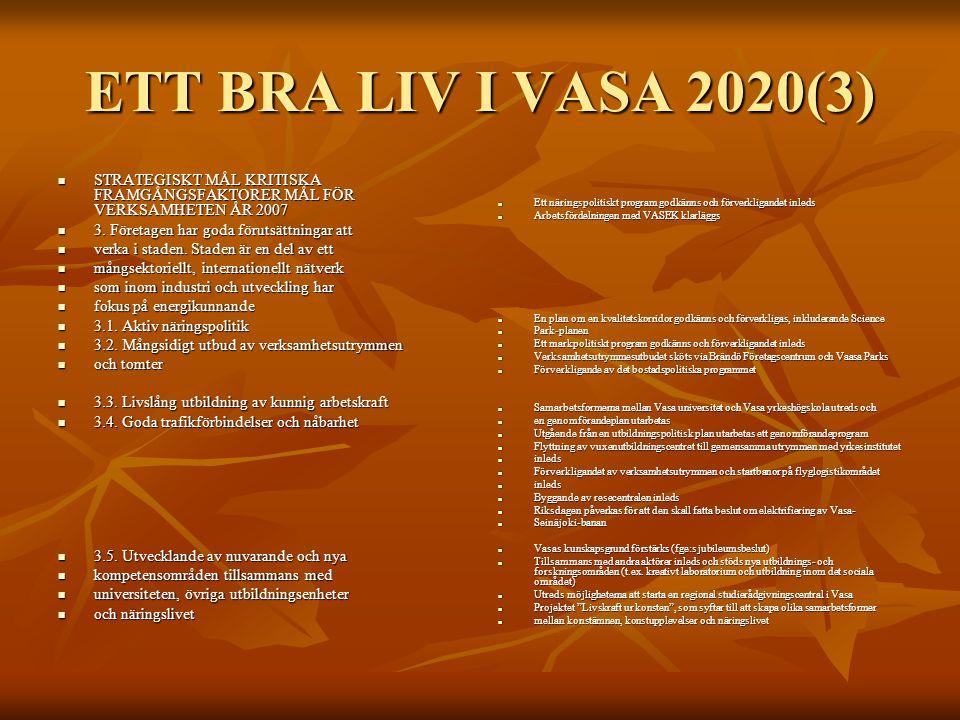 ETT BRA LIV I VASA 2020(3) STRATEGISKT MÅL KRITISKA FRAMGÅNGSFAKTORER MÅL FÖR VERKSAMHETEN ÅR 2007 STRATEGISKT MÅL KRITISKA FRAMGÅNGSFAKTORER MÅL FÖR VERKSAMHETEN ÅR 2007 3.