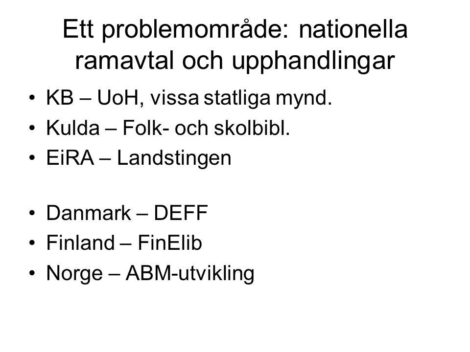 Ett problemområde: nationella ramavtal och upphandlingar KB – UoH, vissa statliga mynd. Kulda – Folk- och skolbibl. EiRA – Landstingen Danmark – DEFF