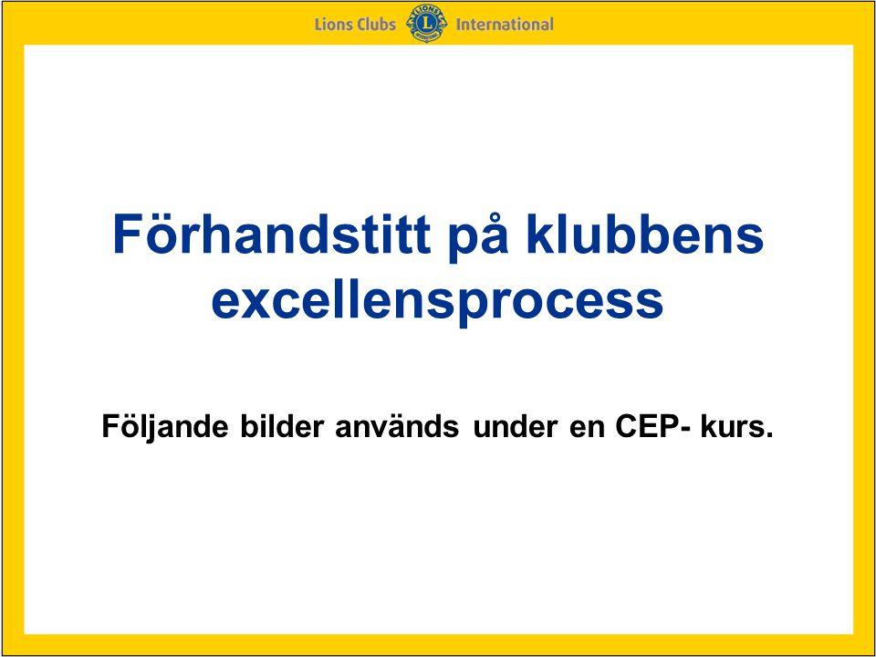 Förhandstitt på klubbens excellensprocess Följande bilder används under en CEP- kurs.