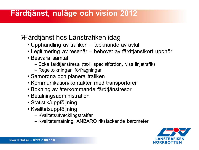 Färdtjänst, nuläge och vision 2012  Färdtjänst hos Länstrafiken idag Upphandling av trafiken – tecknande av avtal Legitimering av resenär – behovet a