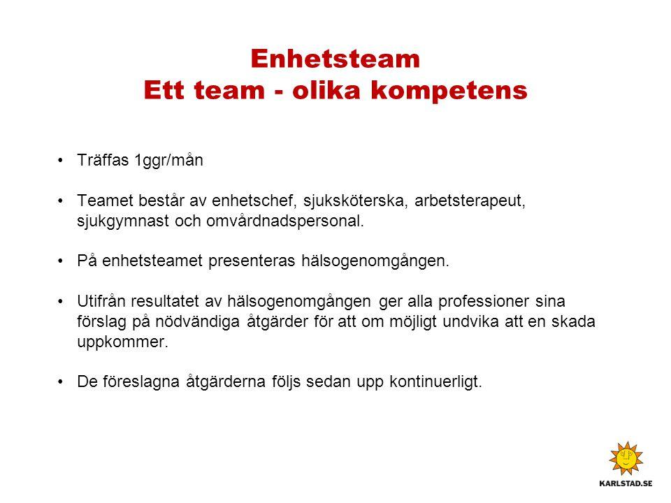 Enhetsteam Ett team - olika kompetens Träffas 1ggr/mån Teamet består av enhetschef, sjuksköterska, arbetsterapeut, sjukgymnast och omvårdnadspersonal.