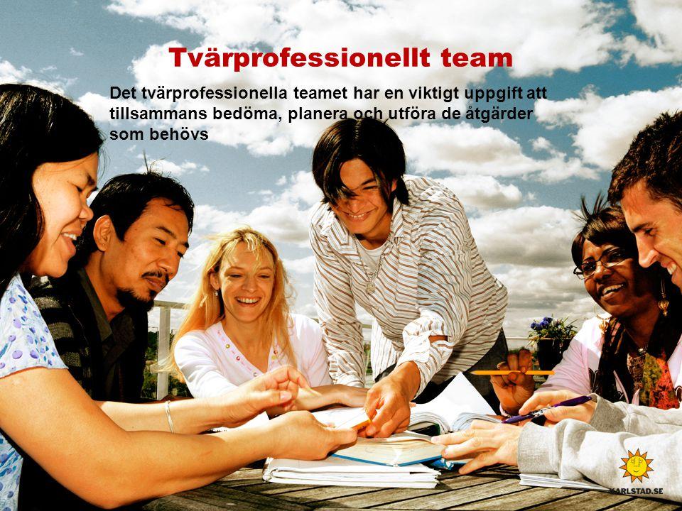 Tvärprofessionellt team Det tvärprofessionella teamet har en viktigt uppgift att tillsammans bedöma, planera och utföra de åtgärder som behövs