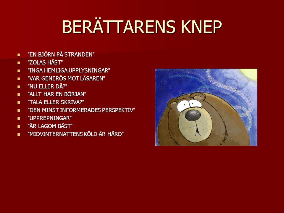 """BERÄTTARENS KNEP """"EN BJÖRN PÅ STRANDEN"""" """"EN BJÖRN PÅ STRANDEN"""" """"ZOLAS HÄST"""" """"ZOLAS HÄST"""" """"INGA HEMLIGA UPPLYSNINGAR"""" """"INGA HEMLIGA UPPLYSNINGAR"""" """"VAR"""