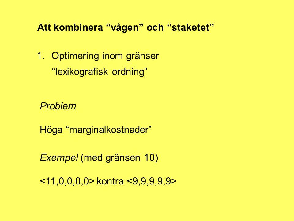 Att kombinera vågen och staketet 1.Optimering inom gränser lexikografisk ordning Problem Höga marginalkostnader Exempel (med gränsen 10) kontra