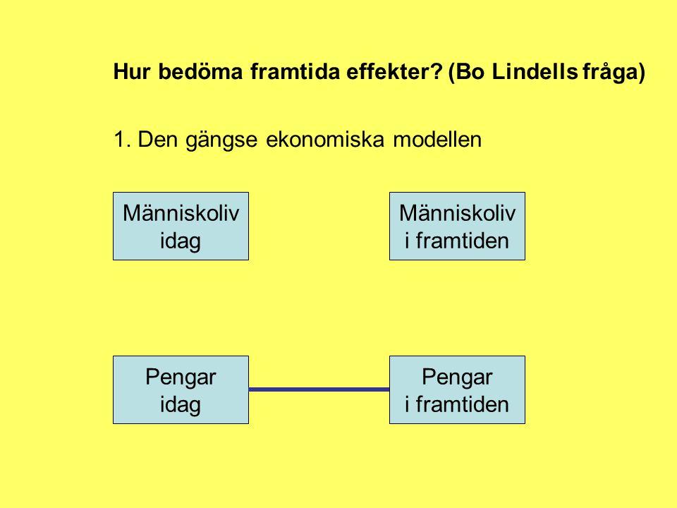 Hur bedöma framtida effekter. (Bo Lindells fråga) 1.