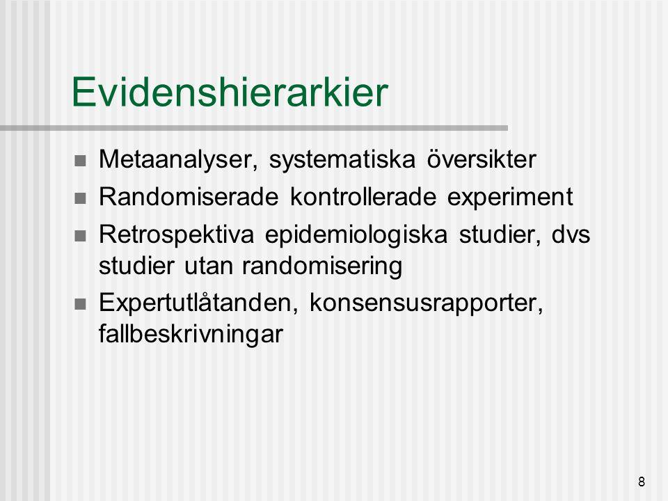 9 Evidensrörelsen EBM-konceptet extrapolerades snart till evidensbaserad praktik och policy Målsättningen: att överbrygga klyftan mellan forskning och praktik/beslutsfattande mer allmänt Omvårdnad, tandvård, sjukgymnastik, socialtjänst, psykoterapi, kriminalvård, pedagogik, miljövård, stadsplanering, bistånd, forskningspolitik, management – och bibliotekspraktik Fiskepolitik, klimatpolitik.