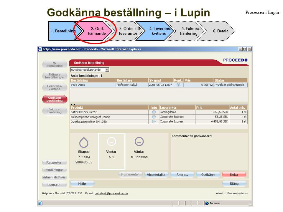 Godkänna beställning – i Lupin Processen i Lupin 1. Beställning 2. God- kännande 3. Order till leverantör 4. Leverans- kvittens 5. Faktura- hantering