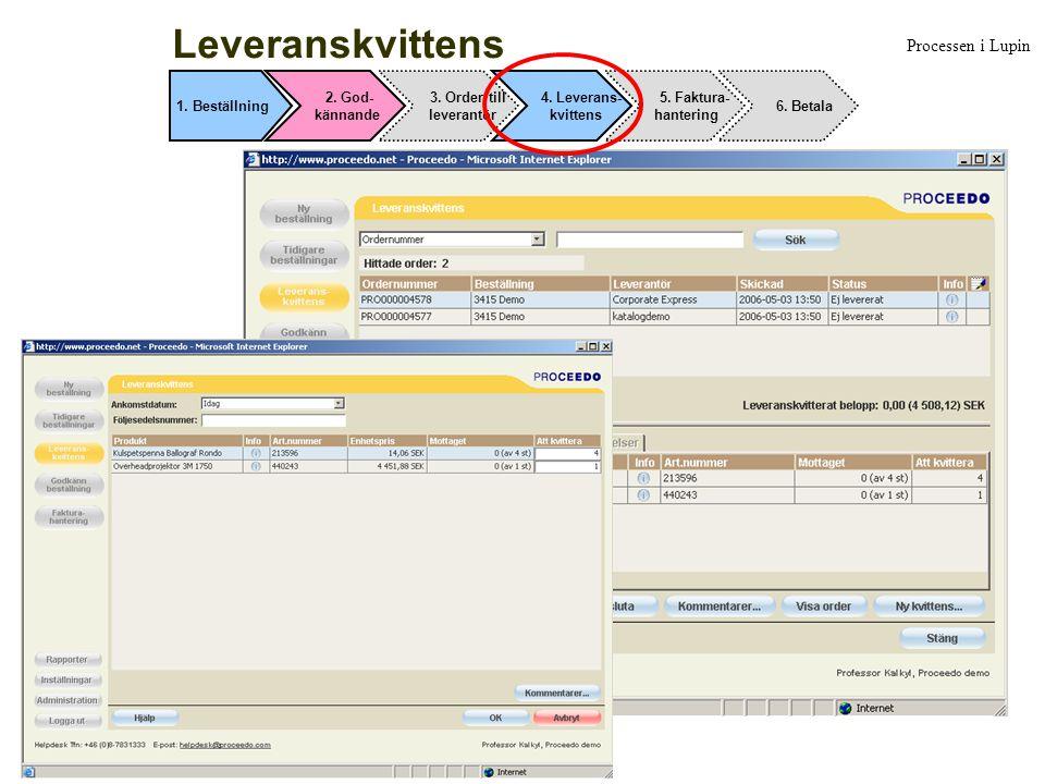 Leveranskvittens Processen i Lupin 1. Beställning 2. God- kännande 3. Order till leverantör 4. Leverans- kvittens 5. Faktura- hantering 6. Betala