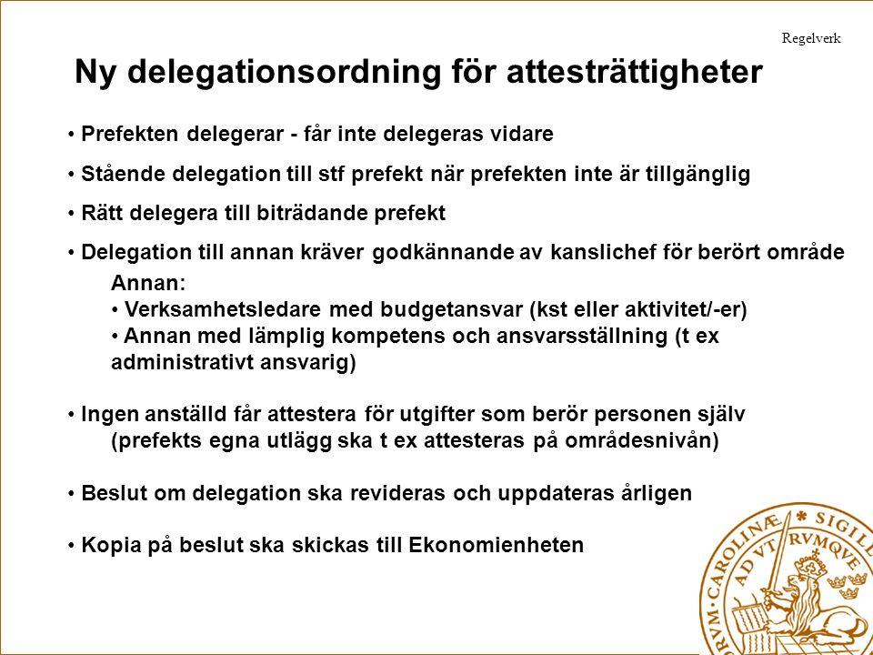 Ny delegationsordning för attesträttigheter Prefekten delegerar - får inte delegeras vidare Stående delegation till stf prefekt när prefekten inte är