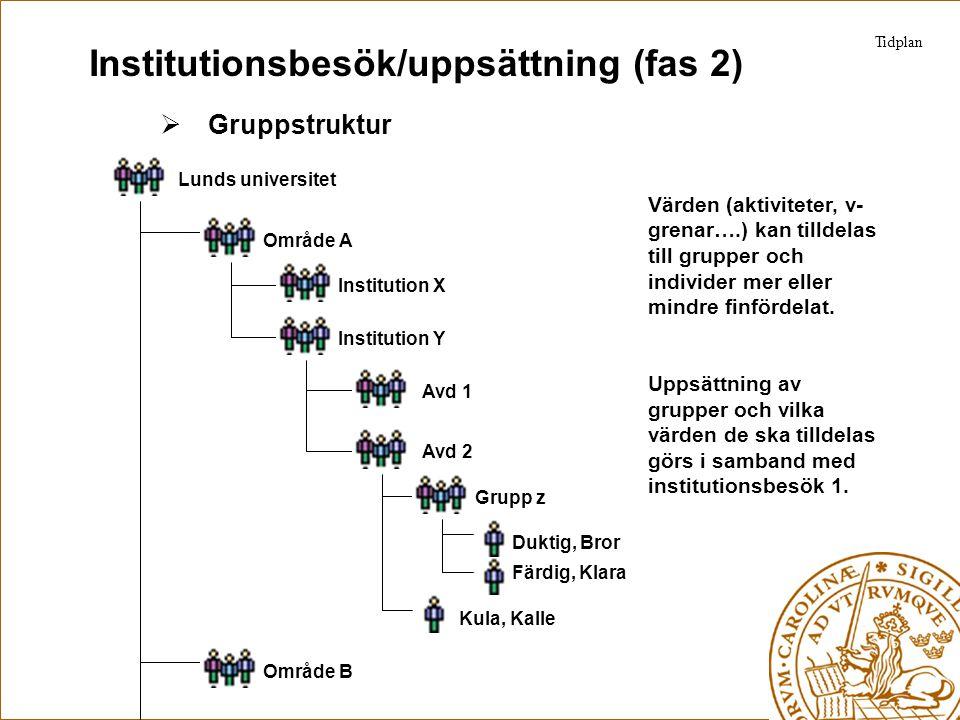 Institutionsbesök/uppsättning (fas 2)  Gruppstruktur Tidplan Lunds universitet Område A Institution X Institution Y Avd 1 Avd 2 Område B Färdig, Klar