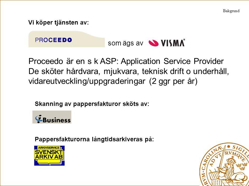 Vi köper tjänsten av: som ägs av Proceedo är en s k ASP: Application Service Provider De sköter hårdvara, mjukvara, teknisk drift o underhåll, vidareu