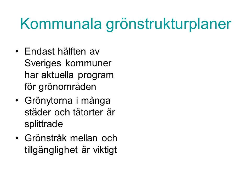 Kommunala grönstrukturplaner Endast hälften av Sveriges kommuner har aktuella program för grönområden Grönytorna i många städer och tätorter är splitt
