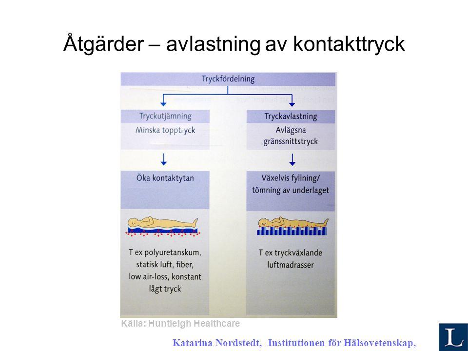 Katarina Nordstedt, Institutionen för Hälsovetenskap, 2007 K Källa: Huntleigh Healthcare Åtgärder – avlastning av kontakttryck