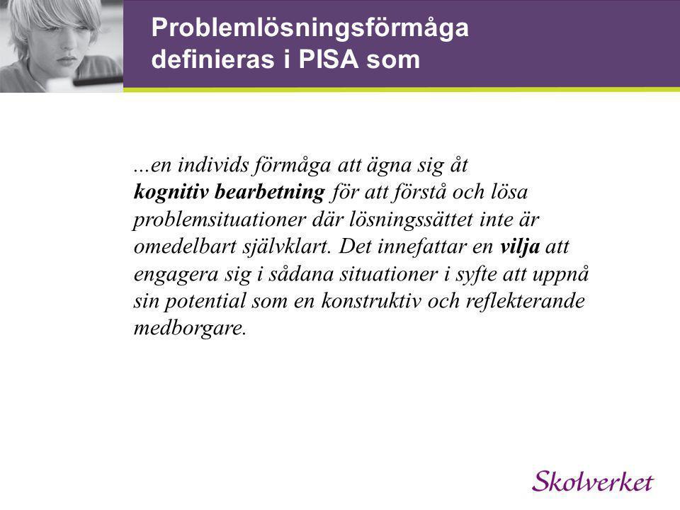 Problemlösningsförmåga definieras i PISA som...en individs förmåga att ägna sig åt kognitiv bearbetning för att förstå och lösa problemsituationer där lösningssättet inte är omedelbart självklart.