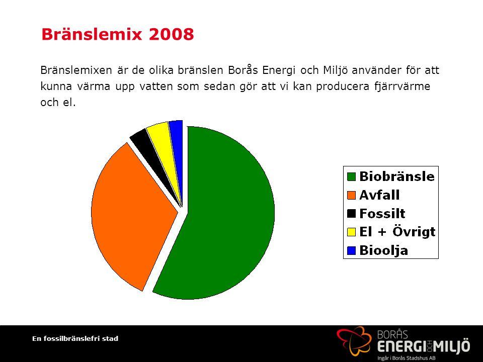 En fossilbränslefri stad Bränslemix 2008 Bränslemixen är de olika bränslen Borås Energi och Miljö använder för att kunna värma upp vatten som sedan gör att vi kan producera fjärrvärme och el.