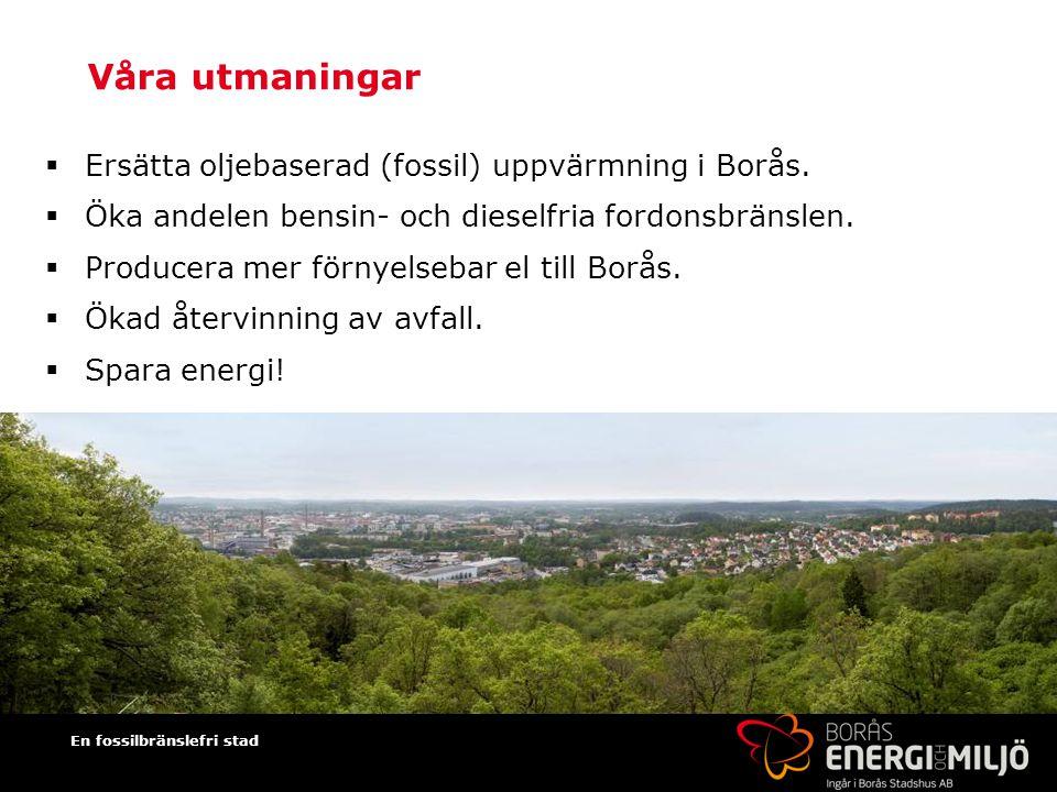 En fossilbränslefri stad Våra utmaningar  Ersätta oljebaserad (fossil) uppvärmning i Borås.