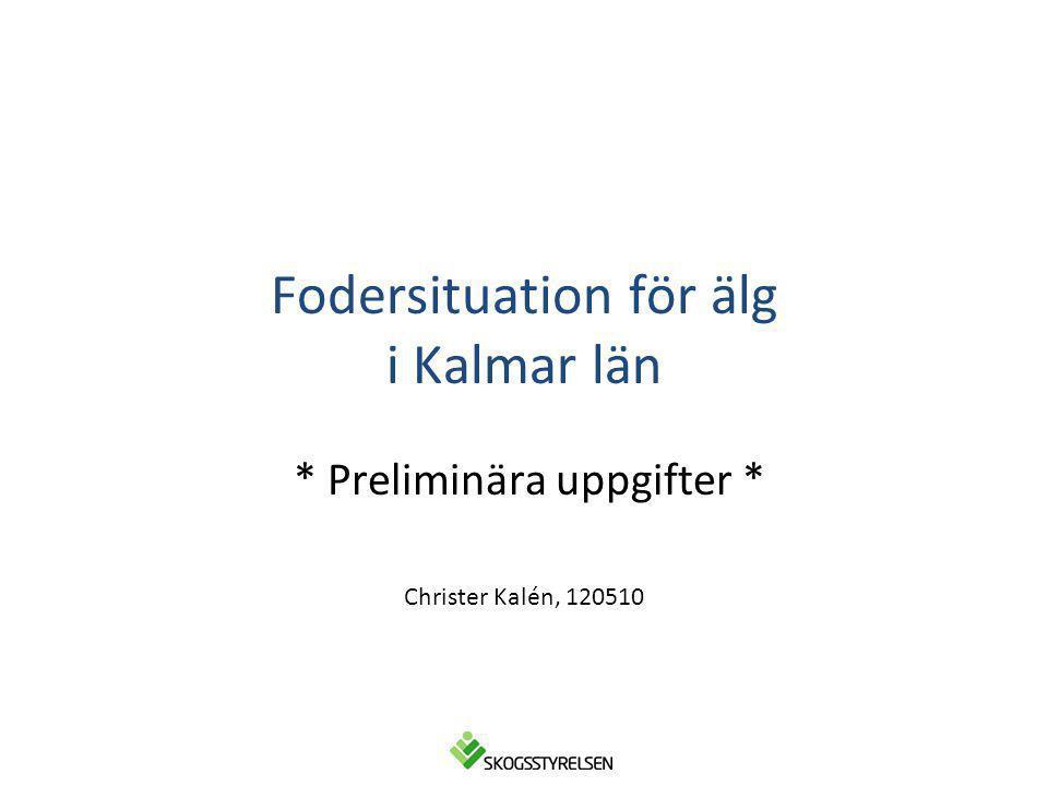 Fodersituation för älg i Kalmar län * Preliminära uppgifter * Christer Kalén, 120510