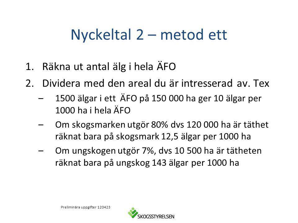 Nyckeltal 2 – metod ett 1.Räkna ut antal älg i hela ÄFO 2.Dividera med den areal du är intresserad av. Tex –1500 älgar i ett ÄFO på 150 000 ha ger 10