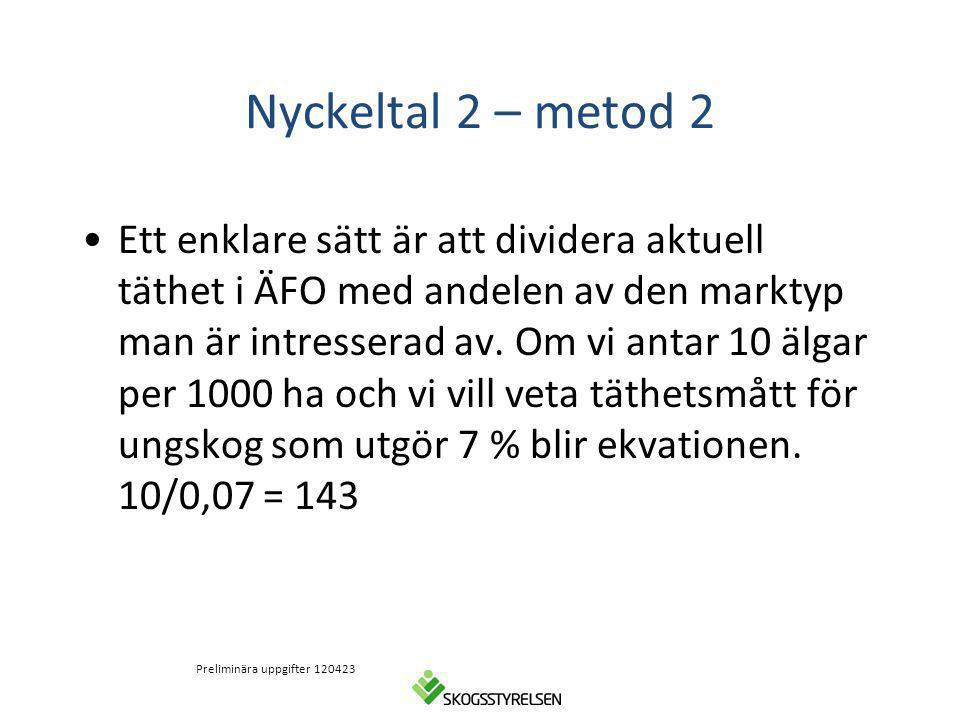 Nyckeltal 2 – metod 2 Ett enklare sätt är att dividera aktuell täthet i ÄFO med andelen av den marktyp man är intresserad av. Om vi antar 10 älgar per